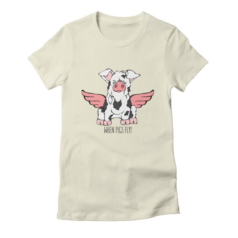 When Pigs Fly: KuneKune Women's Fitted T-Shirt by Angry Squirrel Studio