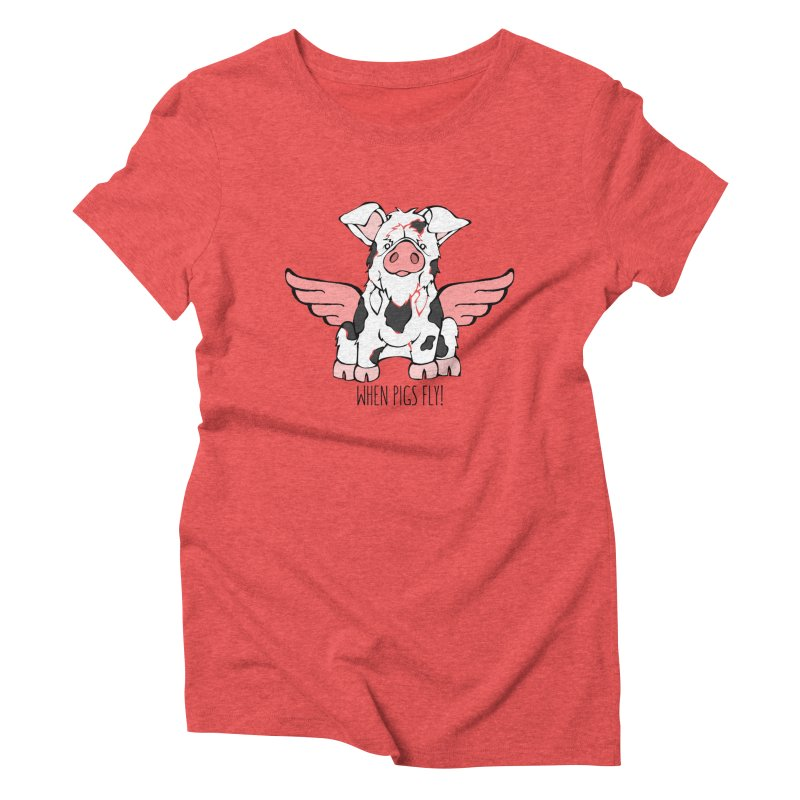 When Pigs Fly: KuneKune Women's Triblend T-Shirt by Angry Squirrel Studio