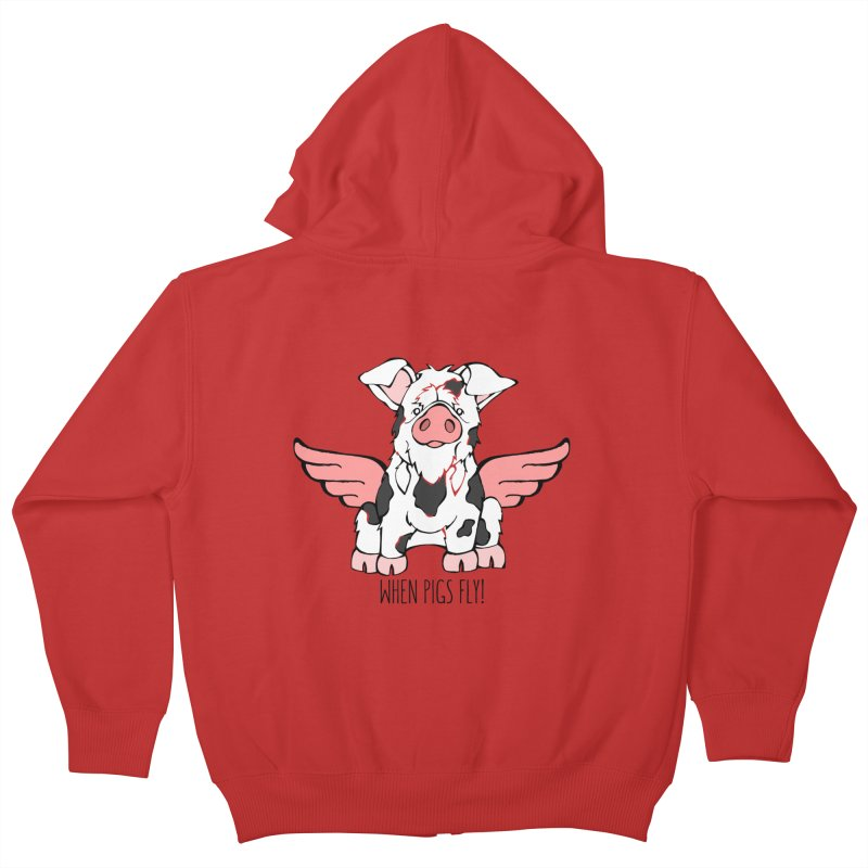 When Pigs Fly: KuneKune Kids Zip-Up Hoody by Angry Squirrel Studio