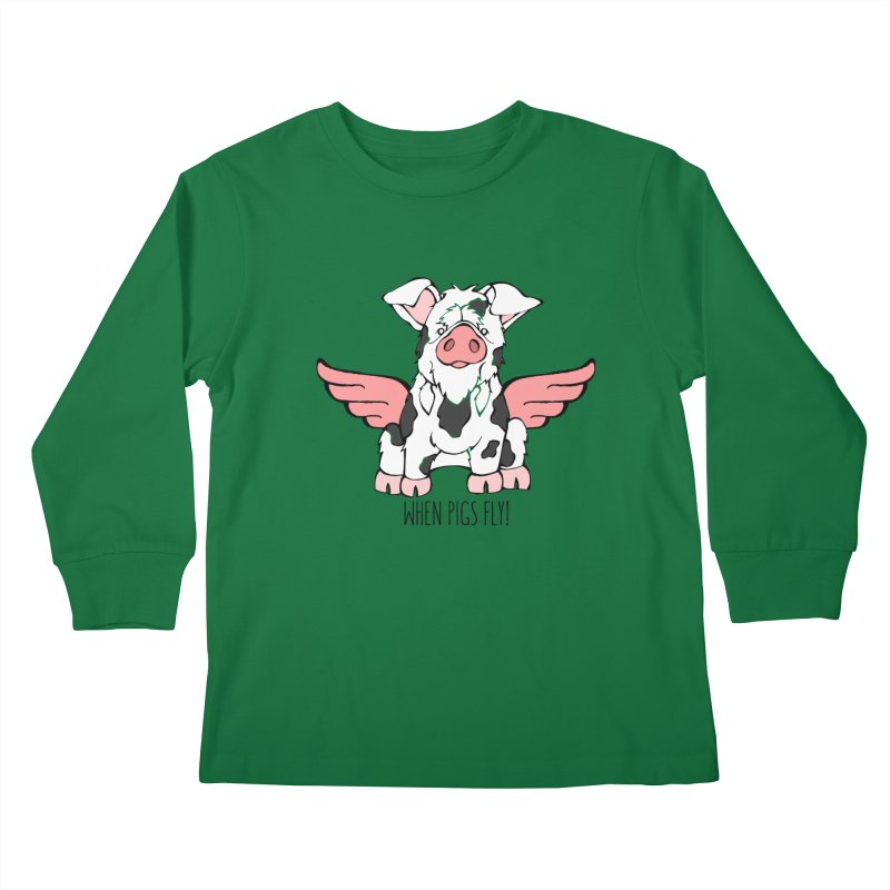 When Pigs Fly: KuneKune Kids Longsleeve T-Shirt by Angry Squirrel Studio
