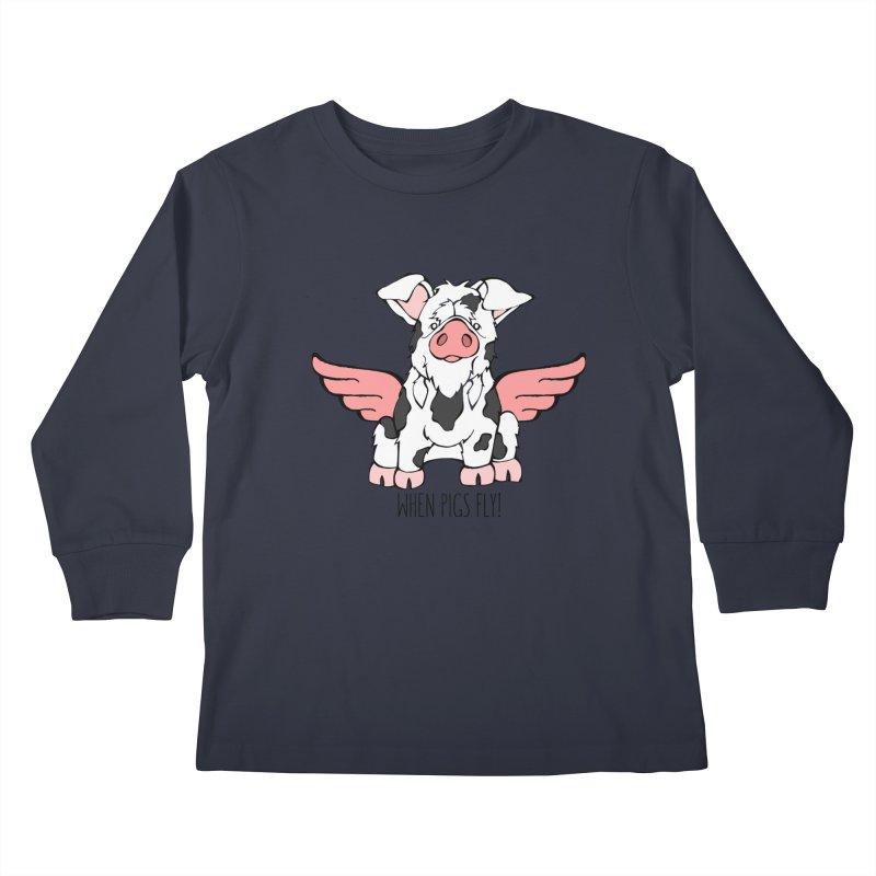 When Pigs Fly: KuneKune Kids Longsleeve T-Shirt by Angry Squirrel Studio