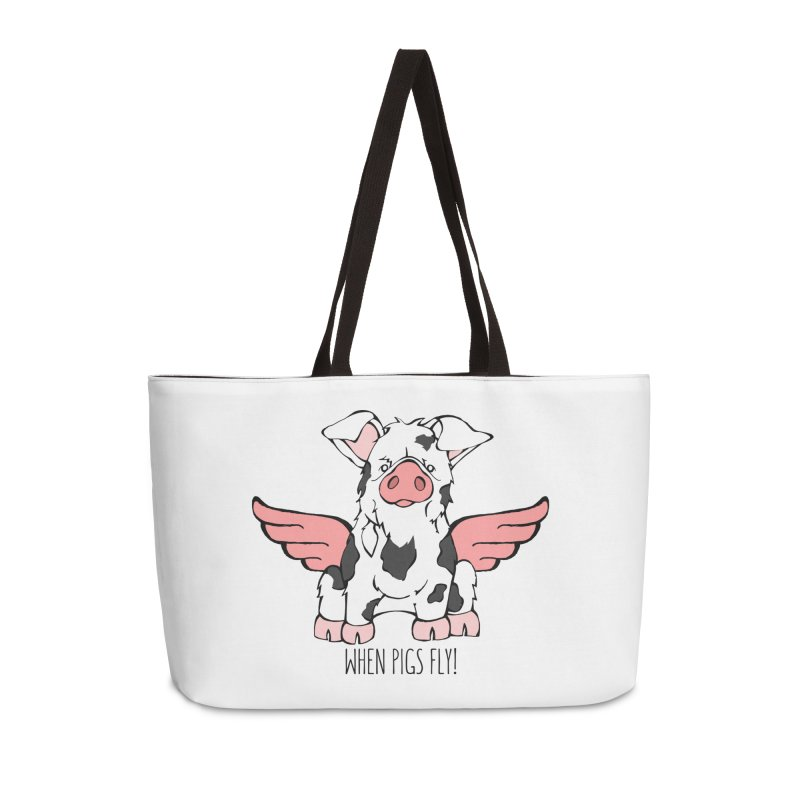 When Pigs Fly: KuneKune Accessories Weekender Bag Bag by Angry Squirrel Studio