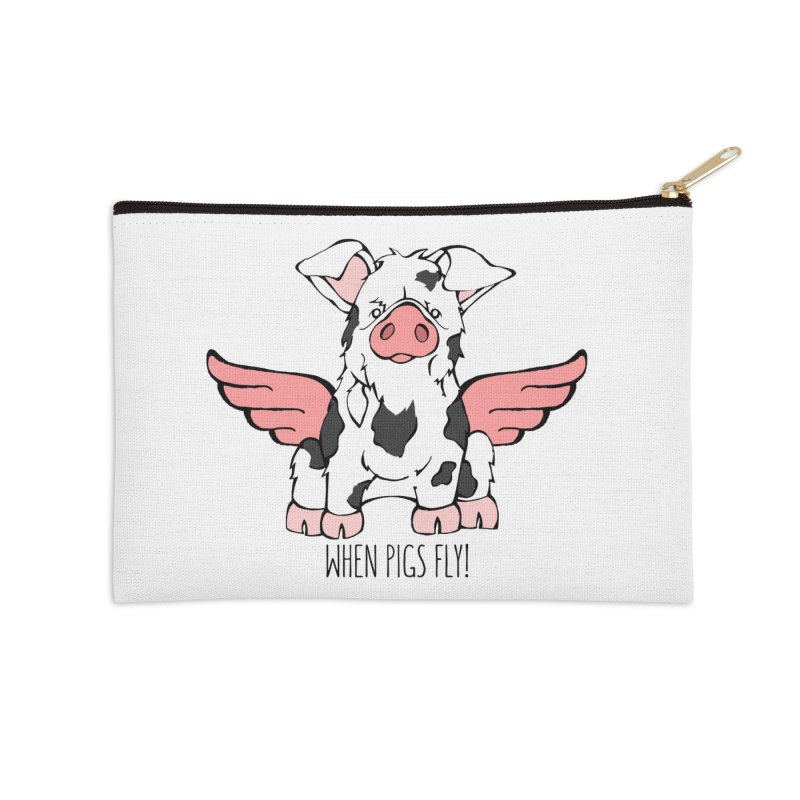 When Pigs Fly: KuneKune Accessories Zip Pouch by Angry Squirrel Studio