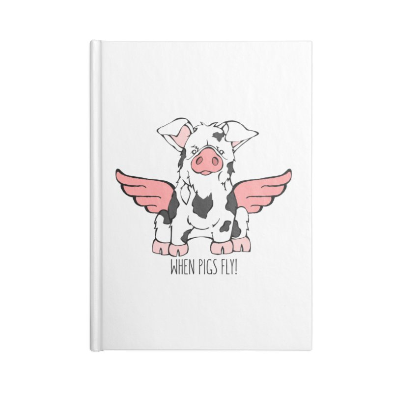 When Pigs Fly: KuneKune Accessories Lined Journal Notebook by Angry Squirrel Studio