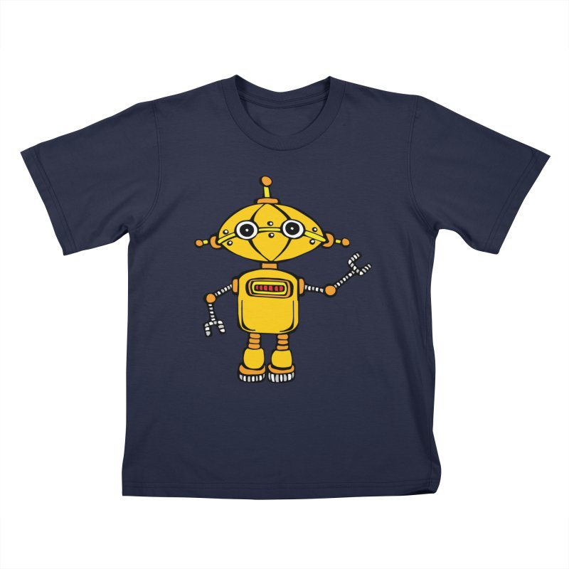 Robot Wes in Kids T-Shirt Navy by Angry Squirrel Studio