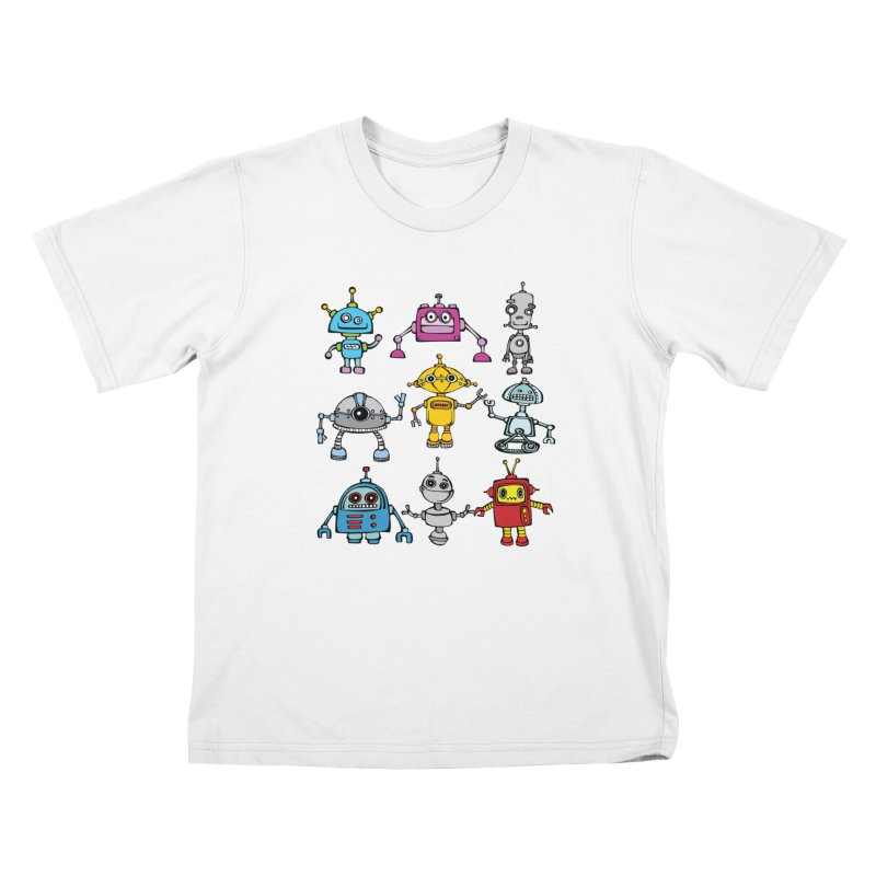 Robots! Robots! Robots! Kids T-Shirt by Angry Squirrel Studio