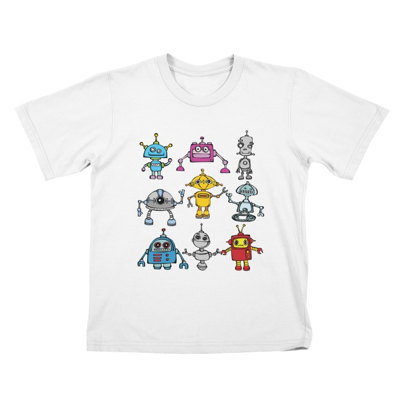 Robots! Robots! Robots! in Kids T-Shirt White by Angry Squirrel Studio