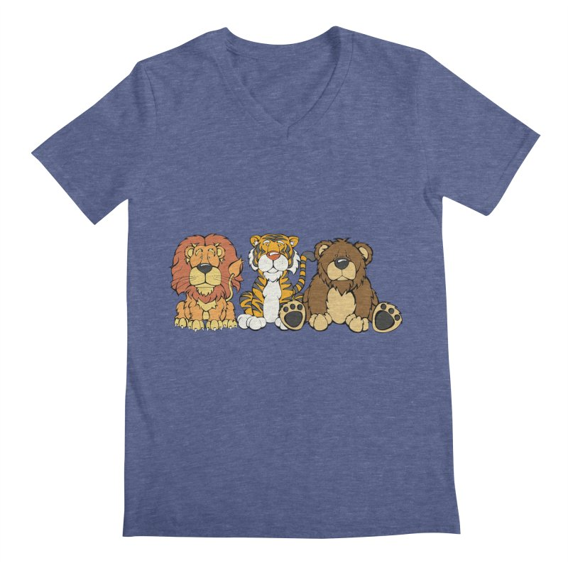 Lions & Tigers & Bears Men's V-Neck by Angry Squirrel Studio