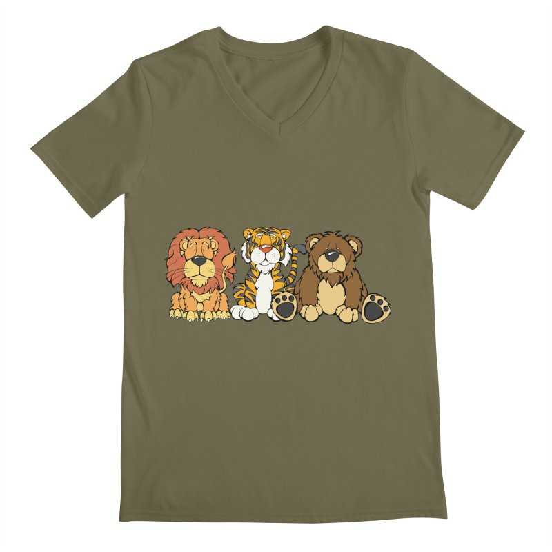 Lions & Tigers & Bears in Men's Regular V-Neck Olive by Angry Squirrel Studio