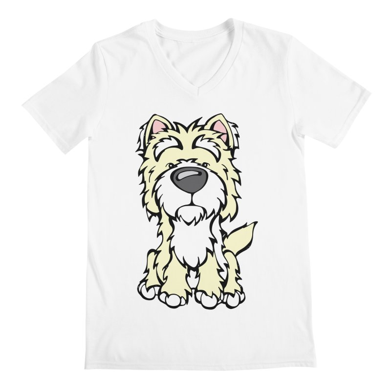 Westie Men's V-Neck by Angry Squirrel Studio