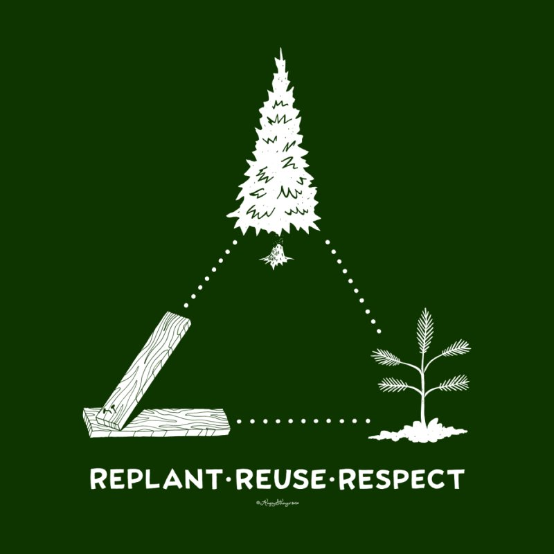 REPLANT REUSE RESPECT Men's T-Shirt by angrystrongo