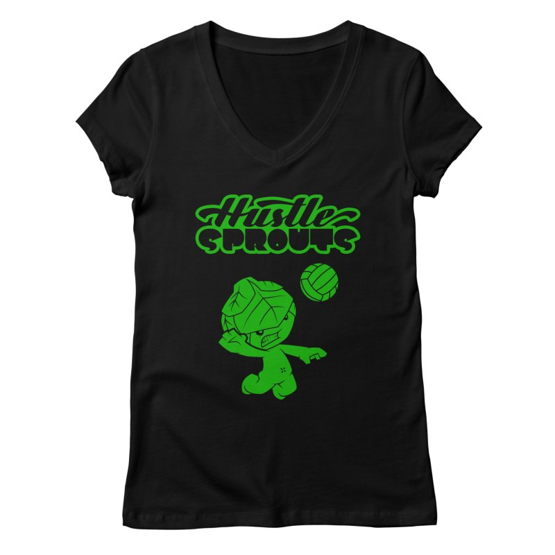 HUSTLE SPROUTS Women's Regular V-Neck by an idle robot
