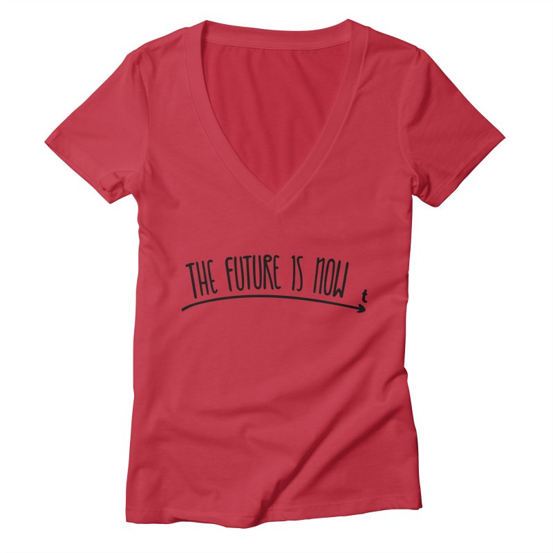 The Future is Now Women's Deep V-Neck V-Neck by Animalanima Shop