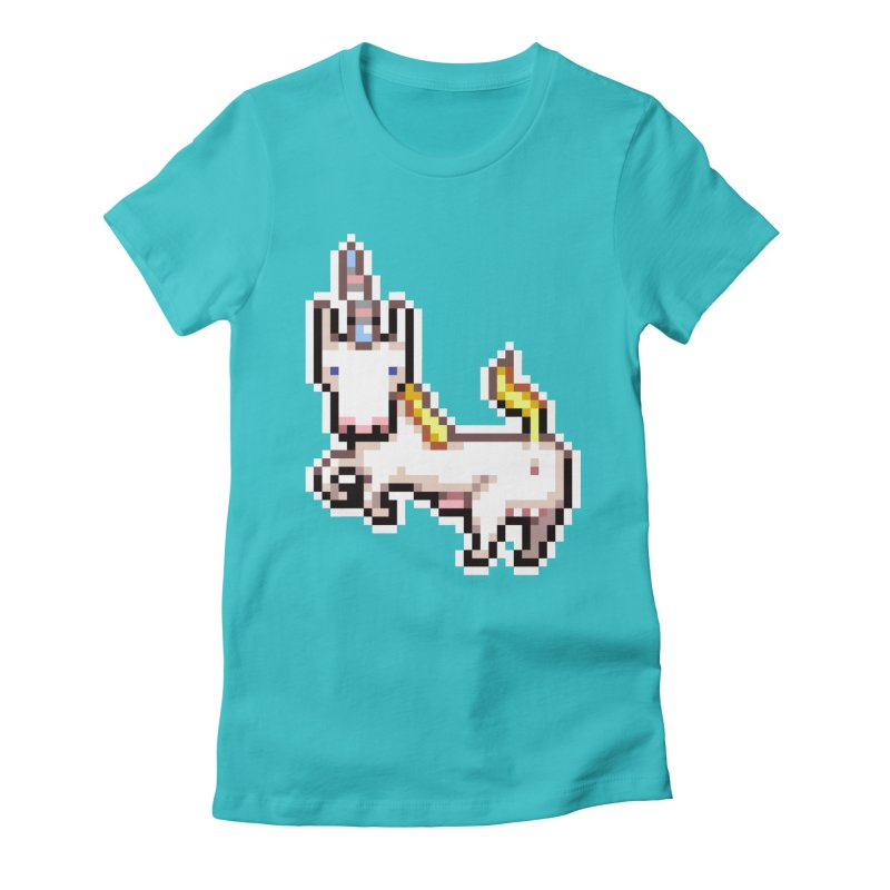 Proud Pony in Women's Fitted T-Shirt Pacific Blue by AnimalBro's Artist Shop