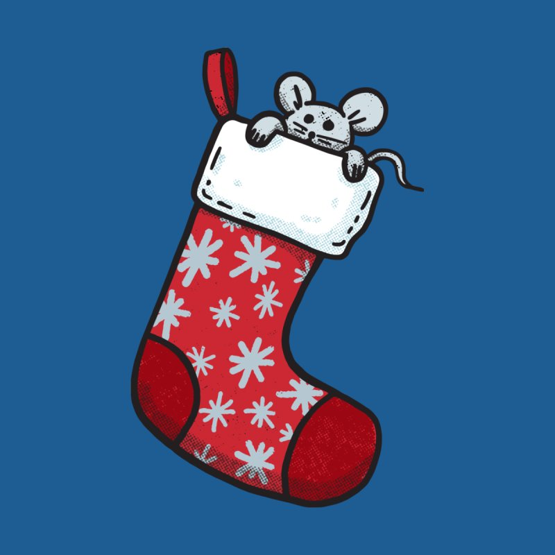 Mouse in a Christmas Stocking Women's T-Shirt by Animal Monster Robot