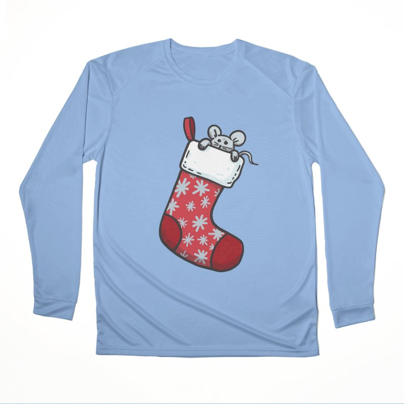 Mouse in a Christmas Stocking Women's Longsleeve T-Shirt by Animal Monster Robot