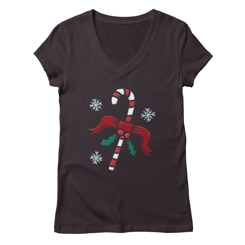 Candy Cane Women's V-Neck by Animal Monster Robot