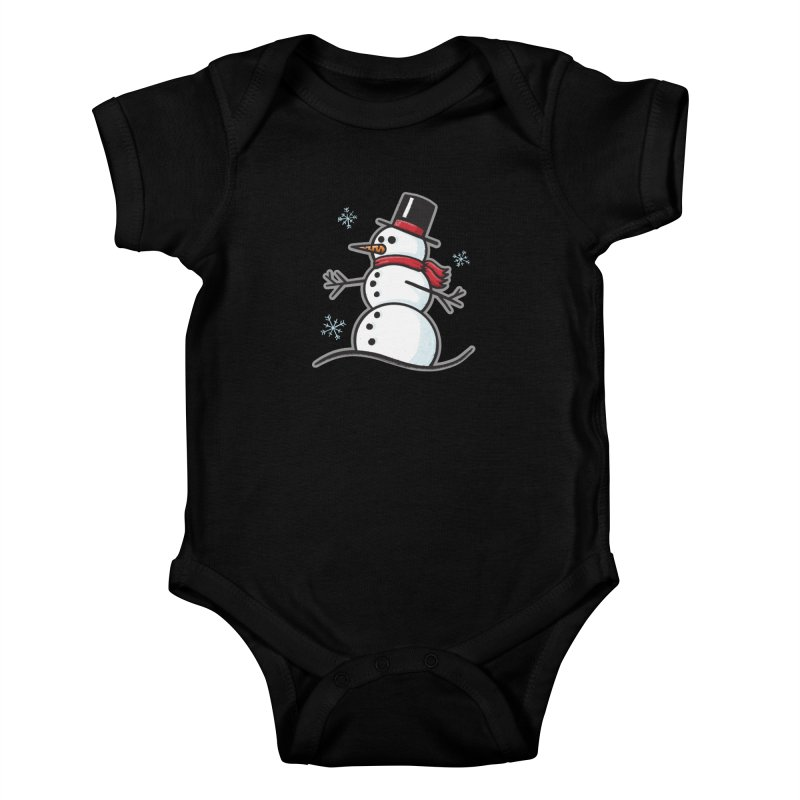Chilly the Snowfriend - for black shirts Kids Baby Bodysuit by Animal Monster Robot