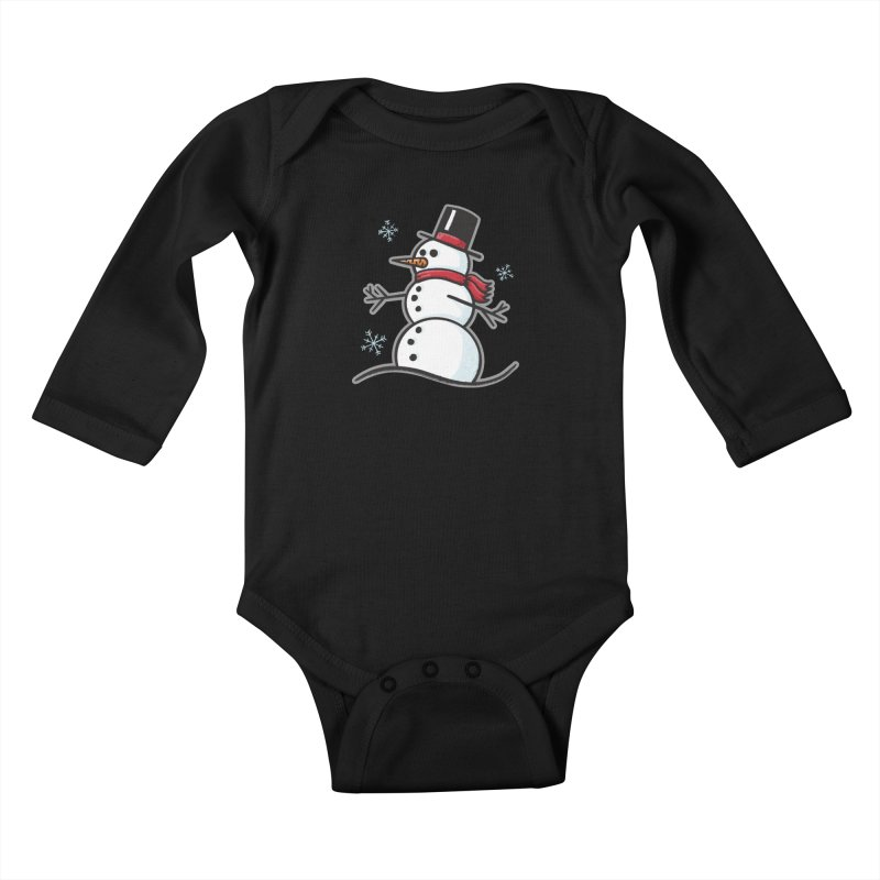 Chilly the Snowfriend - for black shirts Kids Baby Longsleeve Bodysuit by Animal Monster Robot