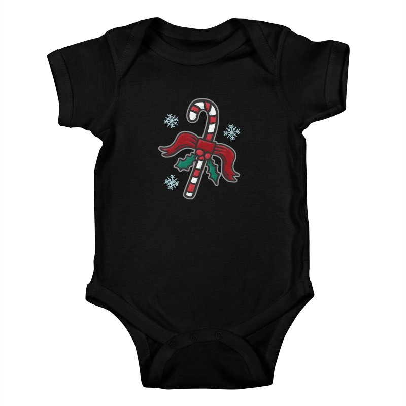 Candy Cane - for black shirts Kids Baby Bodysuit by Animal Monster Robot