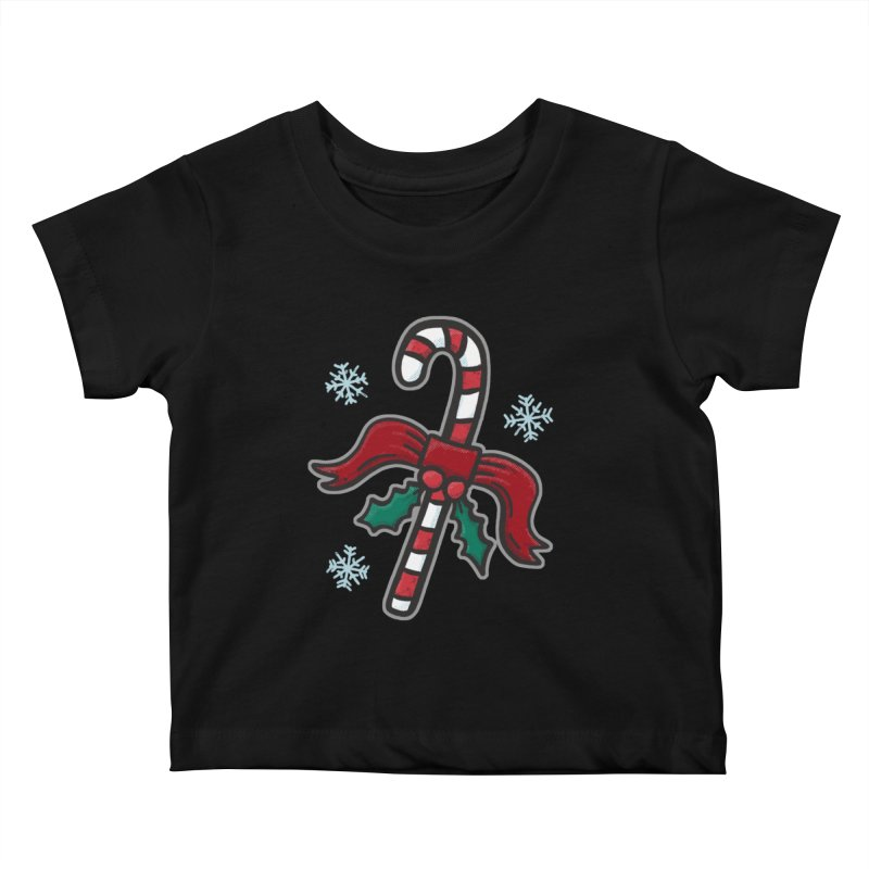Candy Cane - for black shirts Kids Baby T-Shirt by Animal Monster Robot