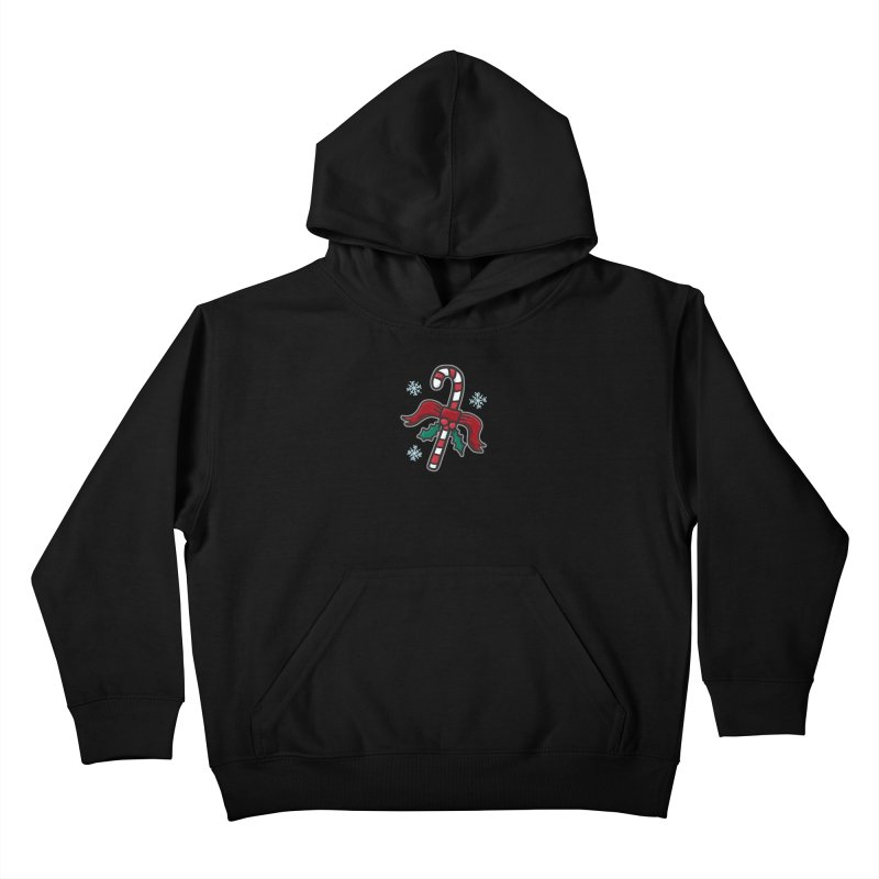 Candy Cane - for black shirts Kids Pullover Hoody by Animal Monster Robot