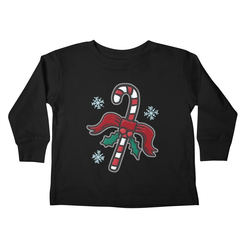 Candy Cane - for black shirts Kids Toddler Longsleeve T-Shirt by Animal Monster Robot