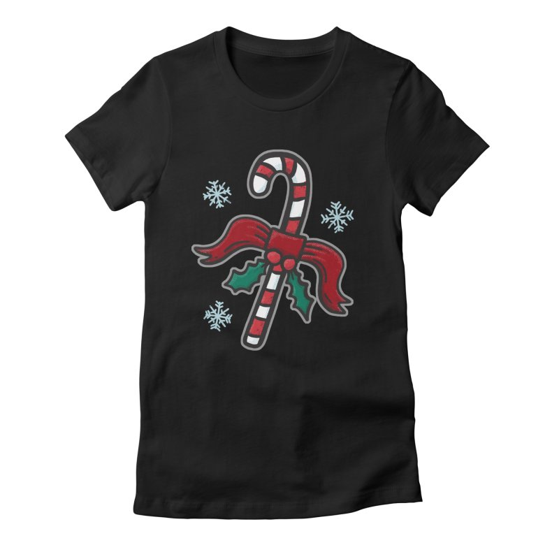 Candy Cane - for black shirts Women's T-Shirt by Animal Monster Robot