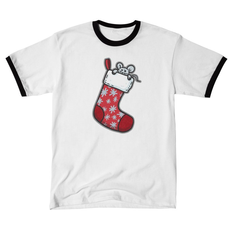 Mouse in a Christmas Stocking - for black shirts Men's T-Shirt by Animal Monster Robot