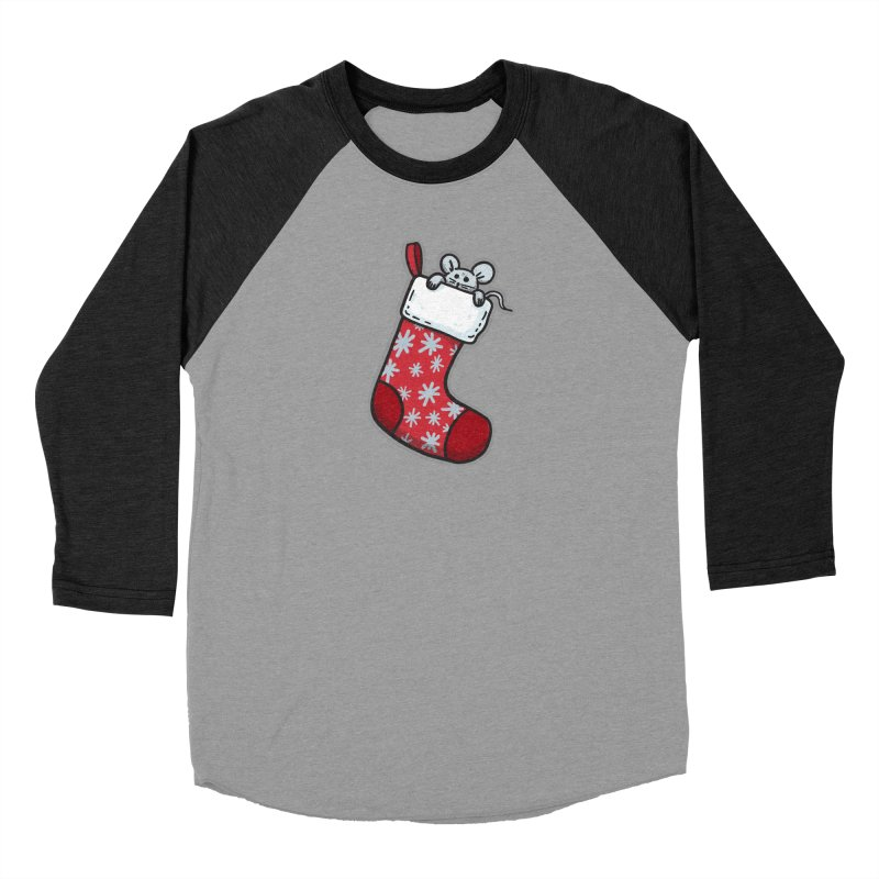 Mouse in a Christmas Stocking - for black shirts Men's Longsleeve T-Shirt by Animal Monster Robot