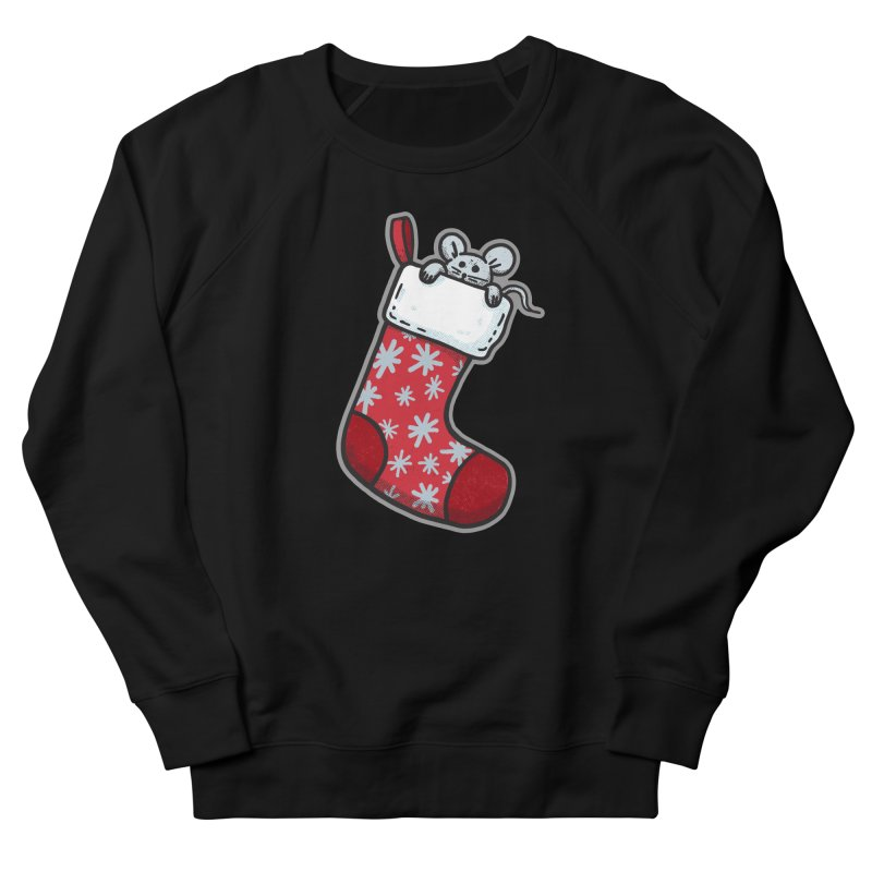 Mouse in a Christmas Stocking - for black shirts Men's Sweatshirt by Animal Monster Robot