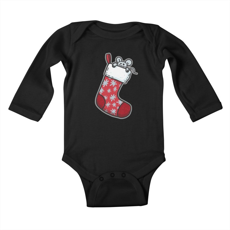 Mouse in a Christmas Stocking - for black shirts Kids Baby Longsleeve Bodysuit by Animal Monster Robot