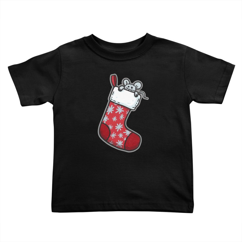 Mouse in a Christmas Stocking - for black shirts Kids Toddler T-Shirt by Animal Monster Robot