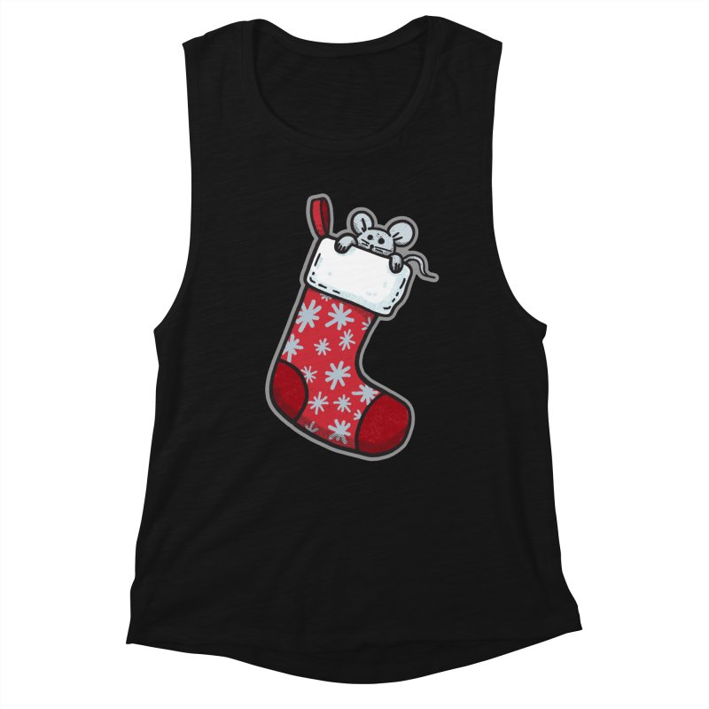 Mouse in a Christmas Stocking - for black shirts Women's Tank by Animal Monster Robot