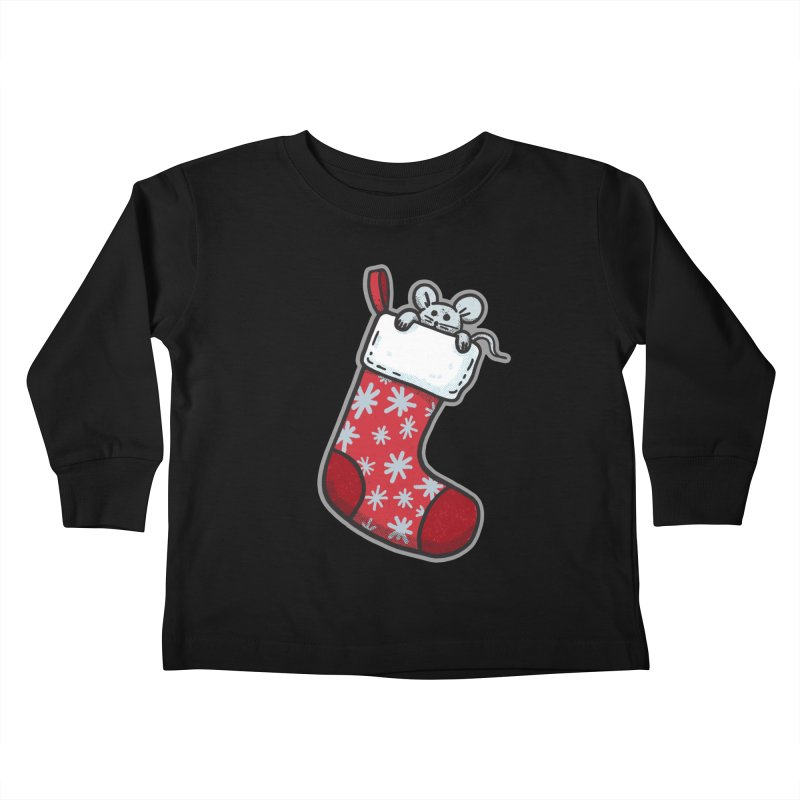 Mouse in a Christmas Stocking - for black shirts Kids Toddler Longsleeve T-Shirt by Animal Monster Robot