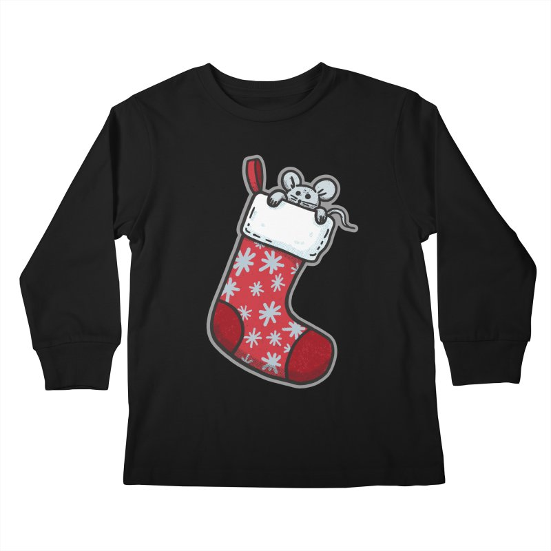 Mouse in a Christmas Stocking - for black shirts Kids Longsleeve T-Shirt by Animal Monster Robot