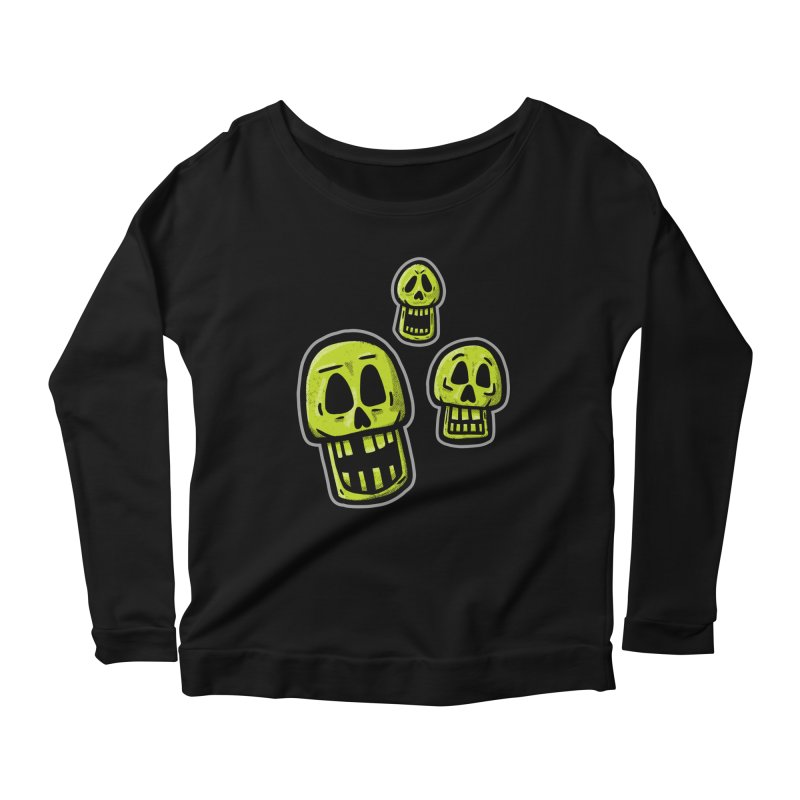 Laughing Skulls - for black shirts Women's Longsleeve T-Shirt by Animal Monster Robot