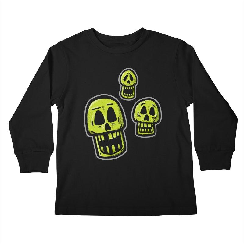 Laughing Skulls - for black shirts Kids Longsleeve T-Shirt by Animal Monster Robot
