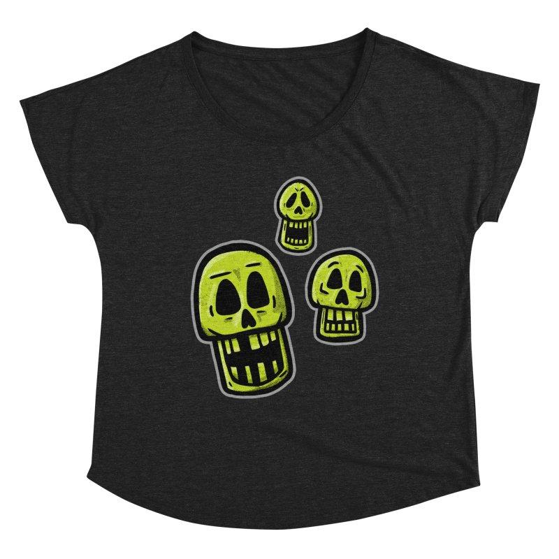 Laughing Skulls - for black shirts Women's Scoop Neck by Animal Monster Robot