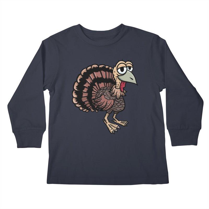 Happy Little Turkey Kids Longsleeve T-Shirt by Animal Monster Robot