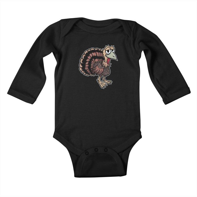 Happy Little Turkey - for black shirts Kids Baby Longsleeve Bodysuit by Animal Monster Robot