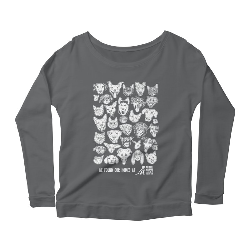 We Found Our Homes (white) - available in various styles & colors Women's Scoop Neck Longsleeve T-Shirt by Animal Welfare League of Arlington Shop