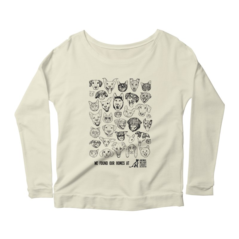 We Found Our Homes (black) - available in various styles & colors Women's Scoop Neck Longsleeve T-Shirt by Animal Welfare League of Arlington Shop
