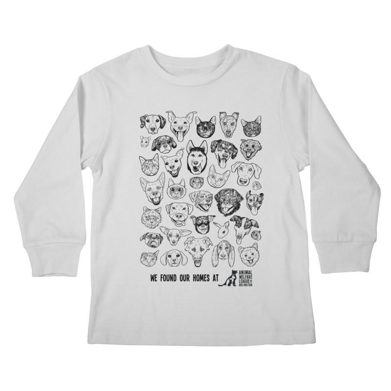 We Found Our Homes (black) - available in various styles & colors Kids Longsleeve T-Shirt by Animal Welfare League of Arlington Shop