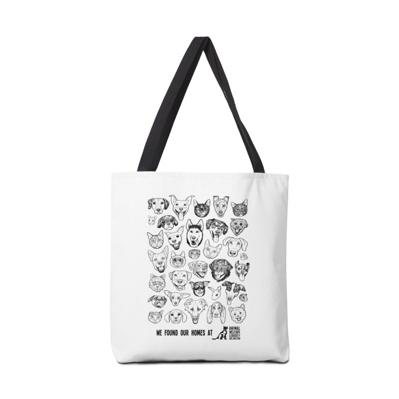 We Found Our Homes (black) - available in various styles & colors in Tote Bag by Animal Welfare League of Arlington Shop