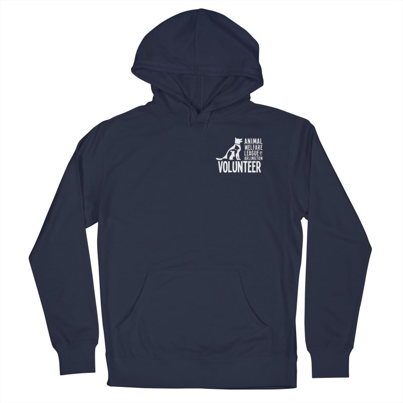 For VOLUNTEERS - white logo in Men's French Terry Pullover Hoody Navy by Animal Welfare League of Arlington Shop