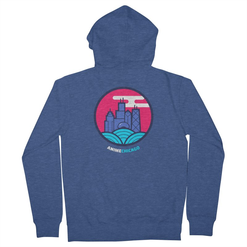 AnimeChicago Crest in Women's French Terry Zip-Up Hoody Heather Royal by AnimeChicago Store