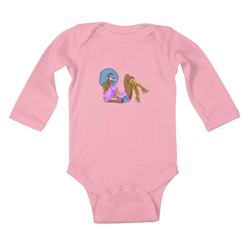 Funky Retro Girl Kids Baby Longsleeve Bodysuit by anishacreations's Artist Shop