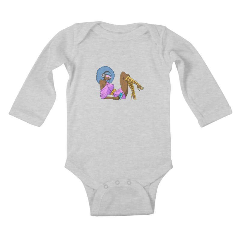 Funky Retro Girl Kids Baby Longsleeve Bodysuit by anishacreations's Artist Shop