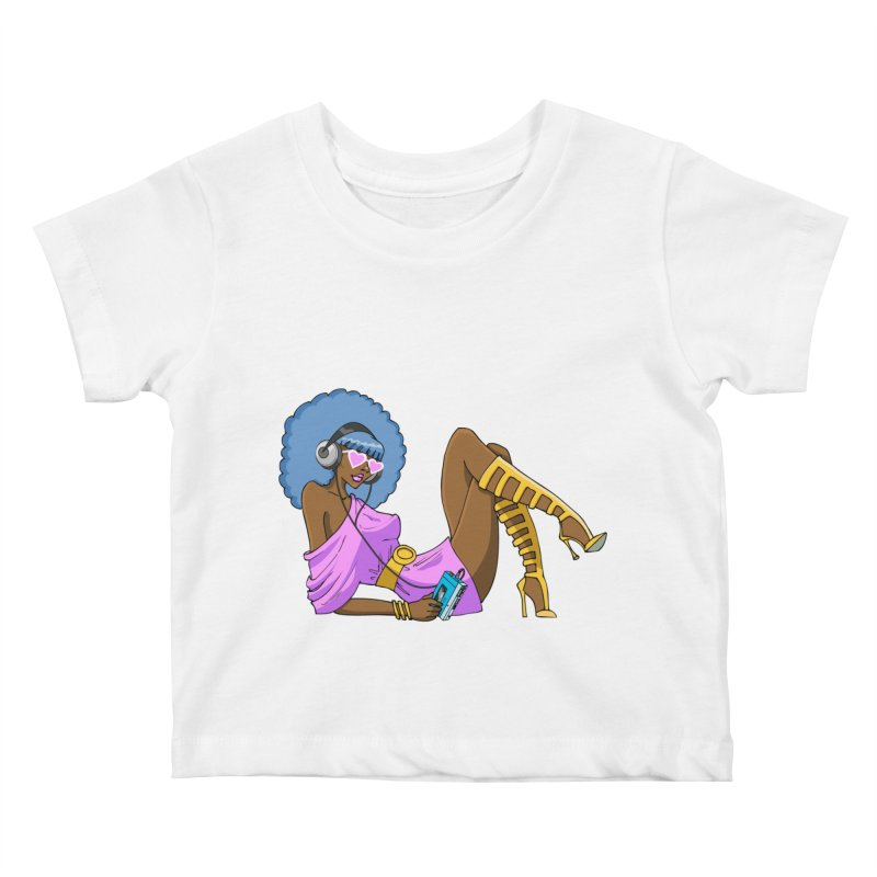Funky Retro Girl Kids Baby T-Shirt by anishacreations's Artist Shop